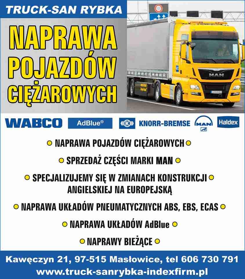 Truck San Rybka Group Transport Mariusz Rybka Masłowice Naprawa